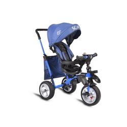 Byox Dreirad Dreirad Tricycle Scar, Dreirad klappbar Gummireifen Sitz drehbar Tasche Schiebegriff blau
