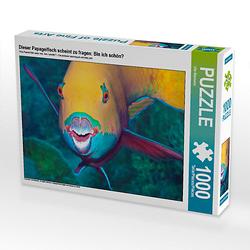 Dieser Papageifisch scheint zu fragen: Bin ich schön? Lege-Größe 64 x 48 cm Foto-Puzzle Bild von Ute Niemann Puzzle