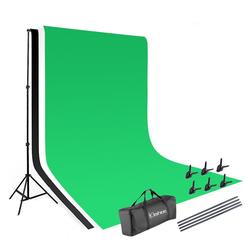Kshioe Fotohintergrund KS-03, 3x2m Fotostudio Hintergrundsystem Stativ 3x Hintergrund Set Mit Tasche
