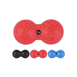 MSports® Pilatesrolle Peanut Massageball Premium Duoball - Triggerpunkt- Faszien-Massage Duo-Ball Erdnuss Ball rot