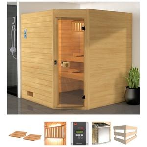 WEKA Sauna Vaasa 3 Eck, 238x189x204 cm, 7,5 kW Bio-Ofen mit ext. Steuerung natur