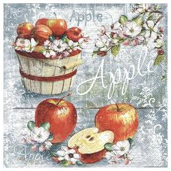 Linoows Papierserviette 20 Servietten, Herbstzeit, Apfelkorb, Äpfel und, Motiv Herbstzeit, Apfelkorb, Äpfel und Blüten