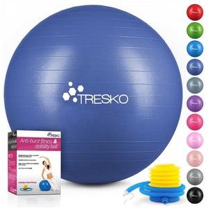 TRESKO Gymnastikball, Yogaball mit GRATIS Übungsposter inkl. Luftpumpe - Fitnessball BPA-Frei, Sitzball Büro, Sitzball Anti-Burst, 300 kg Belastbarkeit blau 65 cm
