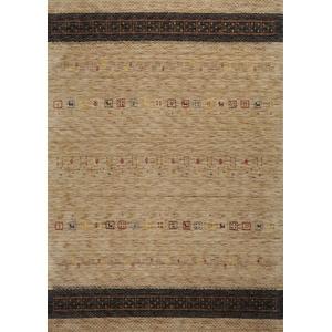 Moderner Gabbeh Teppich | Nachhaltig handgefertigt aus 100% Schurwolle mit Wollsiegel und Rugmark | 140 x 200 cm; Farbe: Hellbraun | THEKO die markenteppiche - Lori Dream Gold