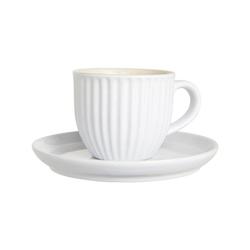 Ib Laursen Vorratsglas Tasse mit Untertasse MYNTE Pure White Landhausgeschirr von IB LAURSEN