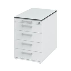 röhr Container, Rollcontainer object plus mit gedämpftem Selbsteinzug, Zentralverschluss und Auszugssperre weiß