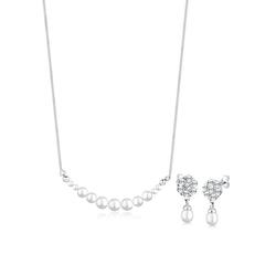 Elli Schmuckset Perle Kristalle 925 Silber