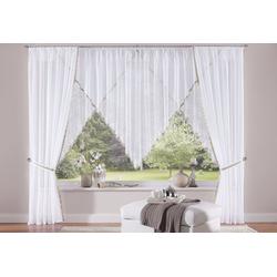 Gardine Volano, my home, Kräuselband (2 Stück), Vorhang, Fertiggardine, transparent weiß 140 cm x 145 cm
