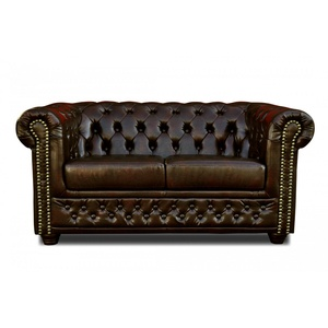 CHESTERFIELD Sofa 3 2 SITZER Bett SESSEL Hocker COUCHTISCH Dunkelbraun LEDERLOOK