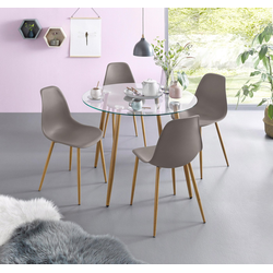 Essgruppe, (Set, 5-tlg), Glastisch mit 4 Stühlen (Kunststoffschale) grau