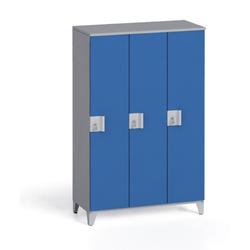 Dreiteiliger kleiderschrank 1400 x 900 x 400 mm, grau/blau
