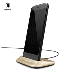 Baseus Handy-Dockingstation USB, Docking/Sync-Station für iPhone 5/5S/5SE, 6/6S/6 Plus/6S Plus, iPhone 7/7Plus, iPhone 8/8Plus, iPhone X/Xr/Xs Max, iPhone 11 Pro Max, iPod, Ladestation mit Hülle, Ständer, Halterung goldfarben