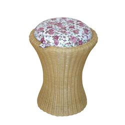 Sitzhocker in Beige Rattan Bunt