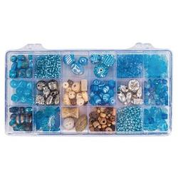 Rayher Perlen-Set Glasperlenbox türkis