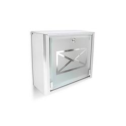 relaxdays Briefkasten Briefkasten Glas mit Brief-Motiv