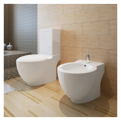 vidaXL Bidet vidaXL Toiletten & Bidet Set Weiß Keramik weiß
