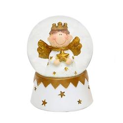 Dekohelden24 Schneekugel Mini-Schneekugel mit Engel, Motiv über Dropdown-Me (1 Stück) weiß