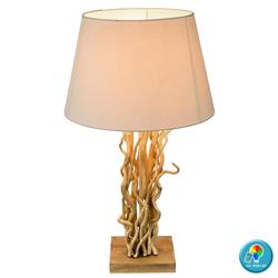 Tisch Lampe Holz Leuchte Fernbedienung Textil Schirm dimmbar im Set inkl. RGB LED Leuchtmittel