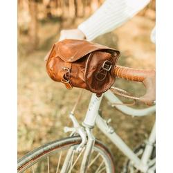 Gusti Leder Lenkertasche Rudi A., Fahrrad Satteltasche Lenkertasche Umhängetasche Fahrradtasche Ledertasche Vintage Braun Leder