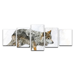 Bilderdepot24 Leinwandbild, Leinwandbild - Aquarell - Wolf 200 cm x 80 cm