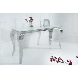 riess-ambiente Konsolentisch MODERN BAROCK 140cm weiß, Tischplatte aus Opalglas · Edelstahl-Beine