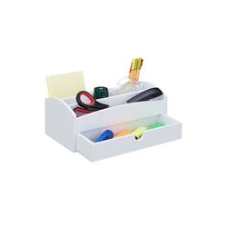 relaxdays Schreibtischaufsatz Schreibtisch aus Organizer Bambus Weiß