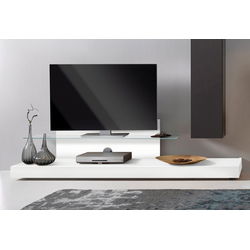 LC TV-Board Cube, mit Glasboden weiß