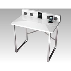 expendio Schreibtisch Austin, weiß Hochglanz 80x79x50 cm mit HiFi Ausstattung