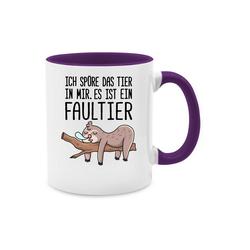 Shirtracer Tasse Das Tier in mir Faultier - Statement - Tasse zweifarbig - Tassen, tasse faultier