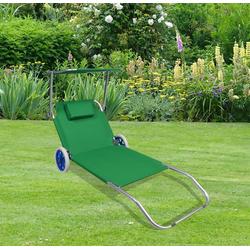 VCM Gartenliege Sonnenliege mit Rollen und Sonnendach grün