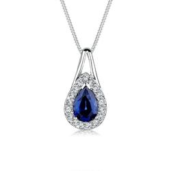 Elli Collierkettchen Tropfen Saphir Kristalle 925 Silber blau