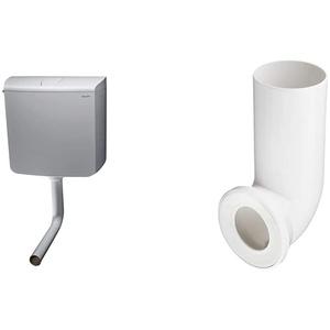 Geberit SCACAS0010CA AP110 Spülkasten, mit Stopptaste, 9 Liter, Weiß & Sanitop-Wingenroth 21642 5 Anschlussbogen für Stand WC | Weiß | 90 Grad | WC, Toilette
