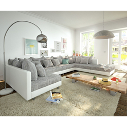 DELIFE Wohnlandschaft Clovis, XL Weiss Hellgrau mit Hocker Wohnlandschaft modular grau 400 cm x 67 cm x 185 cm