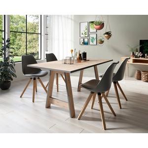 Homexperts Essgruppe Till und Kaja, (Set, 5-tlg., Esstisch mit 4 Stühlen) grau