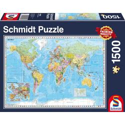 Schmidt Spiele Puzzle Die Welt, 1500 Teile, 1500 Puzzleteile, Made in Germany