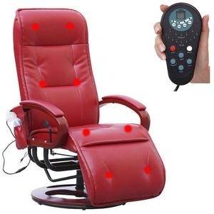 MCW Massagesessel Terni II, 8-Punkt Massage, 9 Massageprogramme, 3 Intensitätsstufen, Rücken und Beine separat ansteuerbar rot