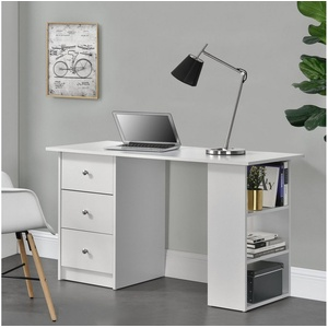 en.casa Schreibtisch, Lemberg Bürotisch mit Regal und 3 Schubladen- 120x49x72cm - Weiß weiß