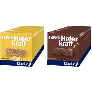 Corny Haferkraft Banane, Haferriegel, 12er Pack (12 x 140g Schachtel mit je 4 Riegeln) & Haferkraft Kakao, 12er Pack (12 x 140g Schachtel mit je 4 Riegeln)