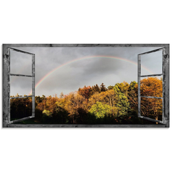 Artland Glasbild Fensterblick - Regenbogen, Fensterblick (1 Stück) 60 cm x 30 cm x 1,1 cm