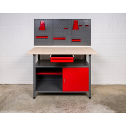 Kreher Werkbank, (Set), B/T/H: 120x60x85 cm, 1x Werkbank, 1x Werkzeugwand inkl. Haken