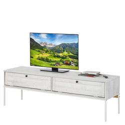 TV Board in Creme Weiß massiv zwei Klappen