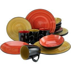 my home Kombiservice Matea, (Set, 16 tlg.), handgemaltes Spiraldekor bunt Geschirr-Sets Geschirr, Porzellan Tischaccessoires Haushaltswaren