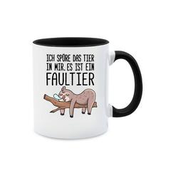 Shirtracer Tasse Das Tier in mir Faultier - Statement - Tasse zweifarbig - Tassen, faultier tasse