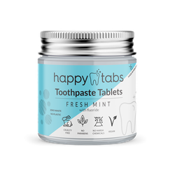 Happy Tabs - Zahnpastatabletten - Innovative Zahnpasta - Fresh Mint - ca. 80 Kautabletten