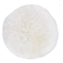 LUXOR living Stuhlkissen Lammfell, Sitzauflage, Sitzfell, rund, Ø 34 cm, echtes Lammfell weiß