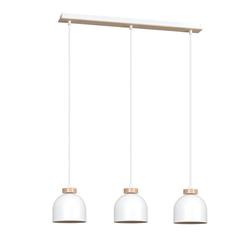 Licht-Erlebnisse Pendelleuchte DOM Pendelleuchte Weiß Metall Holz Skandinavisch Esstisch Lampe