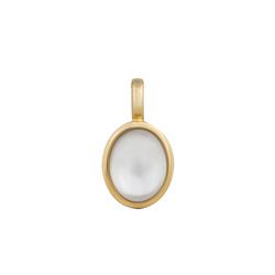 Orolino Kristallanhänger 585/- Gold gelb Perlmutt Bergkristall, Schliff des Steins: Cabochon