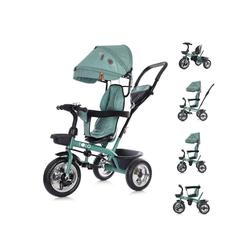 Chipolino Dreirad Tricycle Polo, Dreirad 3 in 1 Sitz drehbar Schubstange Sonnendach grün