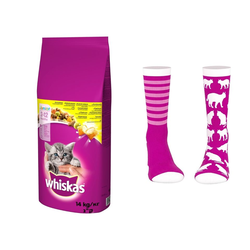 WHISKAS Junior Chicken ( Huhn )14kg + Socken mit Katzenmuster