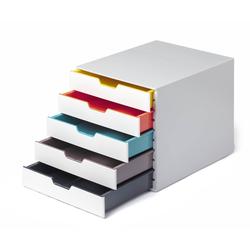 DURABLE Schubladenbox, Durable 762527 Schubladenbox A4 (Varicolor Mix) 5 Fächer, mit Etiketten zur Beschriftung, mehrfarbig